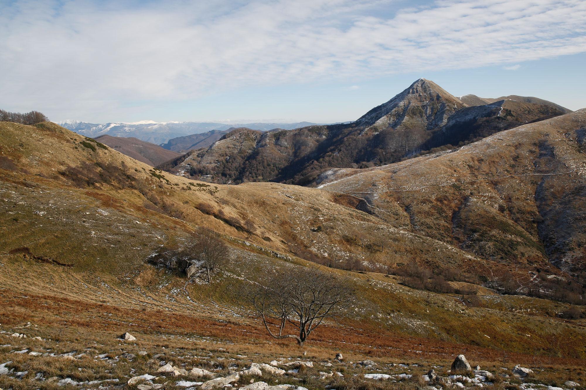 La vetta del Piglione e la foce del Termine o del Crocione, Apuane meridionali.