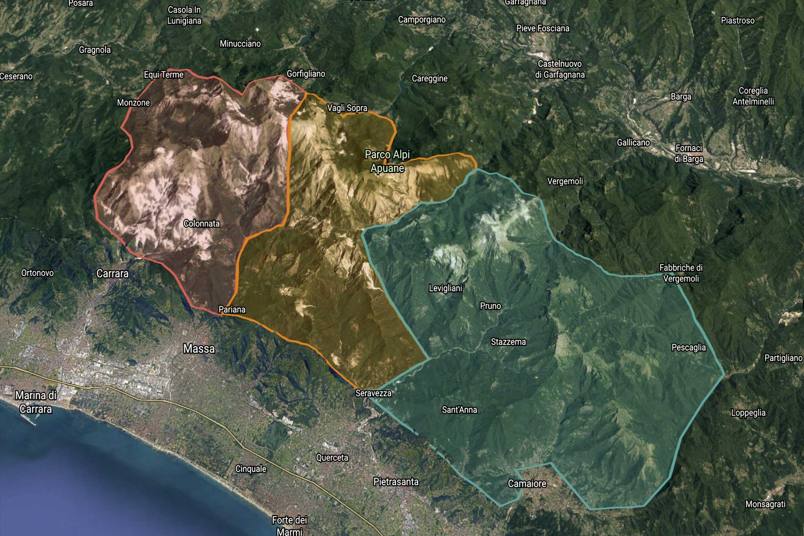 Uno sreenshot di Google Earth sulla catena montuosa delle Apuane. In rosa le settentrionali, in giallo le centrali e in azzurro le meridionali.